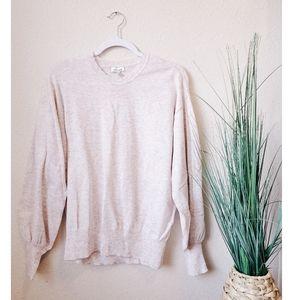 ANTHRO ELLA MOSS Pink Balloon Sleeve Crew Sweater